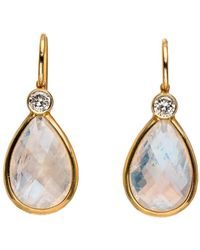 Darlene De Sedle | Moonstone Earrings With Bezel Set Diamond | Lyst