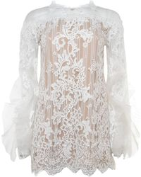 Marchesa - Bell Sleeve Lace Tunic - Lyst