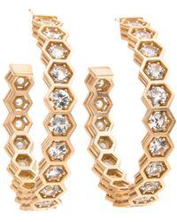 Roule & Co. | White Sapphire Hexagon Hoop Earrings | Lyst