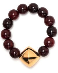 Nest - Red Horn Stretch Bracelet With Gold Bicone - Lyst