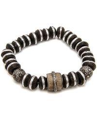Loree Rodkin - Striped Wood And Bone Bead Bracelet - Lyst