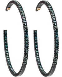 Yossi Harari - Lilah Pave Blue Diamond Hoop Earrings - Lyst