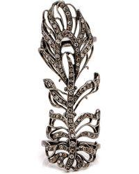 Loree Rodkin - Pave Diamond Feather Bondage Pinkie Ring - Lyst