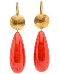 Darlene De Sedle | Gold Disc Coral Drop Earrings | Lyst