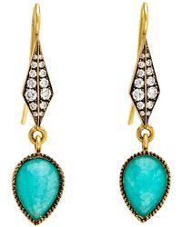 Sylva & Cie - Amazonite And Diamond Drop Earrings - Lyst