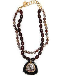 Nest - Red Horn And Agate Double Strand Pendant Necklace - Lyst
