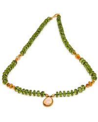 Darlene De Sedle - Peridot Bead With Opal Pendant Necklace - Lyst