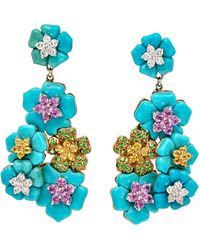 Wendy Yue - Turquoise Floral Cluster Earrings - Lyst