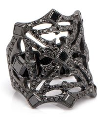 Loree Rodkin - Pave Black Diamond Web Ring - Lyst