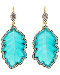 Sylva & Cie - Chalcedony Leaf Earrings - Lyst