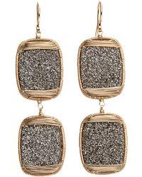 Dana Kellin - Double Druzy Drop Wire Wrap Earrings - Lyst