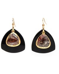 Nest - Black Horn And Agate Drop Earrings - Lyst