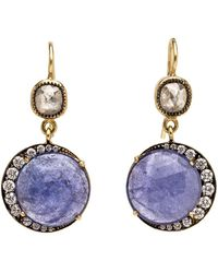 Sylva & Cie - Diamond And Tanzanite Drop Earrings - Lyst