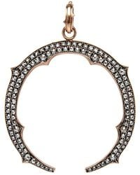 Sylva & Cie - Rose Gold Diamond Horseshoe Pendant - Lyst