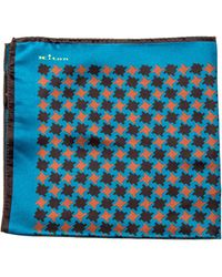 Kiton | Teal And Rust Houndstooth Print Pocket Square | Lyst