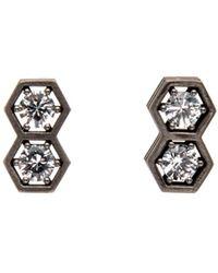 Roule & Co. - White Sapphire Double Drop Hexagon Stud Earrings - Lyst