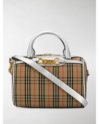 709b392b770a Lyst - Burberry Prorsum The Alchester Check And Leather Bowling Bag ...