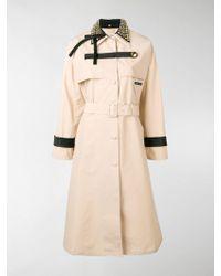 Prada - Studded Collar Trench Coat - Lyst