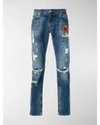 Dolce & Gabbana | Sacred Heart Patch Jeans | Lyst