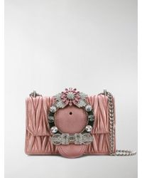 Lyst - Miu Miu Quilted Velvet And Crystal Shoulder Bag in Yellow cde219d7ceb71