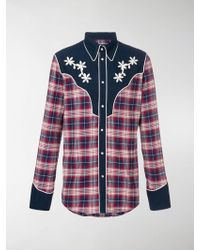 DSquared² - Plaid Floral Embroidered Shirt - Lyst