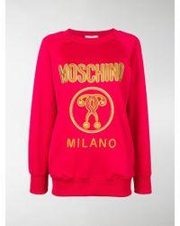Moschino - Felpa con logo ricamato - Lyst