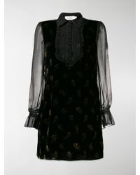 COACH - Muted Floral Print Velvet Dress - Lyst