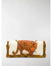 Versace - Brown And Cream Leopard Large Pillow Bag - Lyst