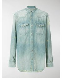 Balmain - Distressed Denim Shirt - Lyst