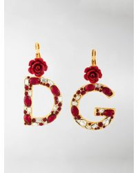 Dolce & Gabbana - Crystal Rose-embellished Dg Earrings - Lyst