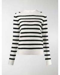 Saint Laurent Stripe Knitted Sweater - White