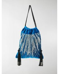 Attico - Embroidered Pouch Bag In Blue Velvet - Lyst