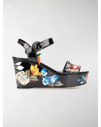 Dolce & Gabbana - Bianca Romantic Wedge Sandals - Lyst