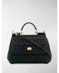 527f609109 Dolce   Gabbana - Black Sicily Raffia Tote Bag - Lyst