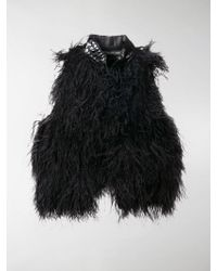cb44fa167a3 Saint Laurent Ostrich Feather Jacket in Black - Lyst