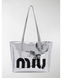 Miu Miu - Logo Sequin Tote Bag - Lyst ce77b59ac9