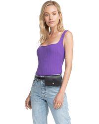 af3f066b5a Lyst - Kendall + Kylie Stripe Knit Bodysuit in Blue