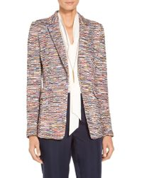 St. John - Vertical Fringe Multi Tweed Knit Jacket - Lyst