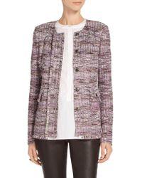 St. John - Sale Anna Woven Stripe Knit Front Placket Jacket - Lyst