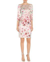 St. John - Multi Color Brush Stroke Floral Print Dress - Lyst