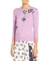 St. John - Sale Falling Flower Jersey Knit Sweater - Lyst