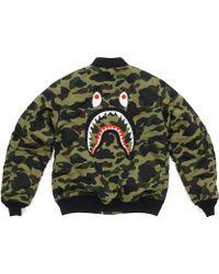 44b41dbb793a8 A Bathing Ape 1st Camo Shark Coach Jacket in Yellow for Men - Lyst