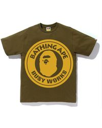 18308a06 A Bathing Ape Busy Works Cotton-jersey T-shirt in White for Men - Lyst