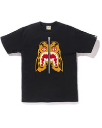 f112c767a A Bathing Ape Tiger Shark Tee Black in Black for Men - Lyst