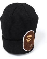 2f49939095b Lyst - A Bathing Ape Ape Head One Point Knit Cap in Black for Men