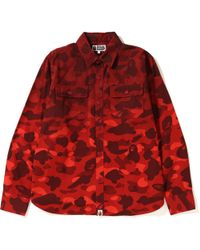 4d9c6800 A Bathing Ape 1st Camo Quilted Lining Mountain Flannel Shirt Jacket  Black/white in Black for Men - Lyst