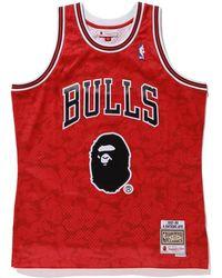 9e6cf9aa796 A Bathing Ape - X Mitchell   Ness Bulls Abc Basketball Swingman Jersey Red  - Lyst
