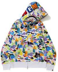 143c20c5 A Bathing Ape - Multi Camo Shark Full Zip Hoodie White - Lyst