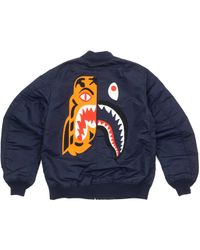7a4d0c4b9421 Lyst - A Bathing Ape Tiger Embroidery Reversible Light Bomber Black ...