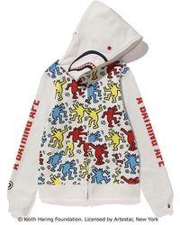 A Bathing Ape - X Keith Haring Shark Full Zip Hoodie 2 (ladies) White - Lyst